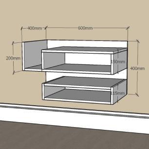 Mesa de Cabeceira slim com nichos em mdf Cinza