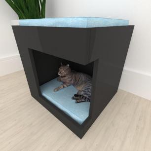 Casinha caminha para gato alto padrão mdf preto