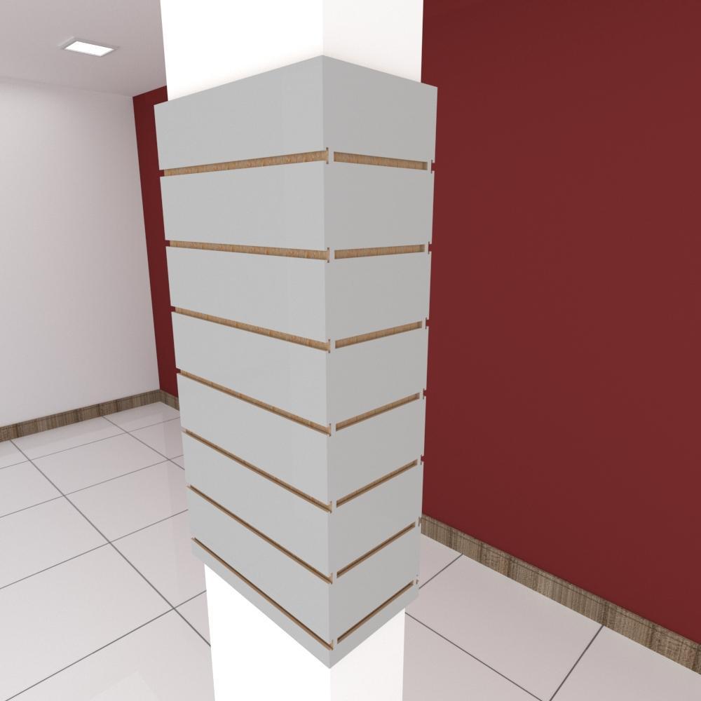 Kit 4 Painel canaletado para pilar cinza cristal 2 peças 44(L)x90(A)cm + 2 peças 20(L)x90(A)cm