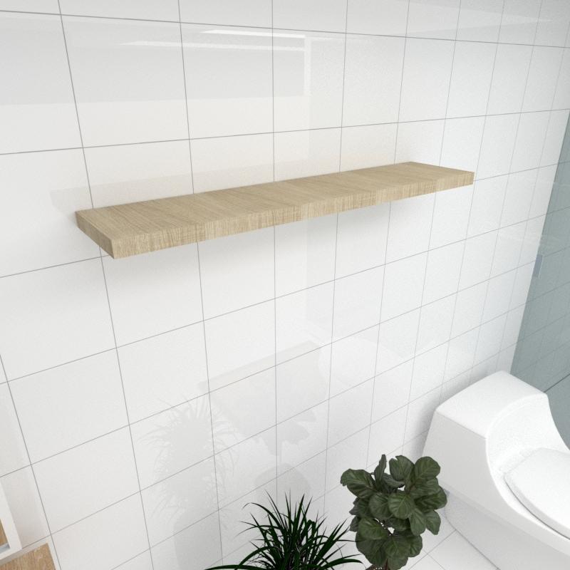 Prateleira para banheiro MDF suporte Inivisivel cor amadeirado claro 90(C)x20(P)cm mod pratbnamc25