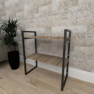 Mini estante industrial para escritório aço cor preto mdf 30cm cor amadeirado escuro mod ind08aeep