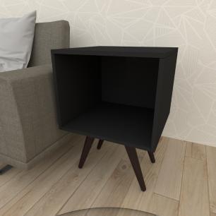 Mesa lateral moderna em mdf preto com 4 pés inclinados em madeira maciça cor tabaco
