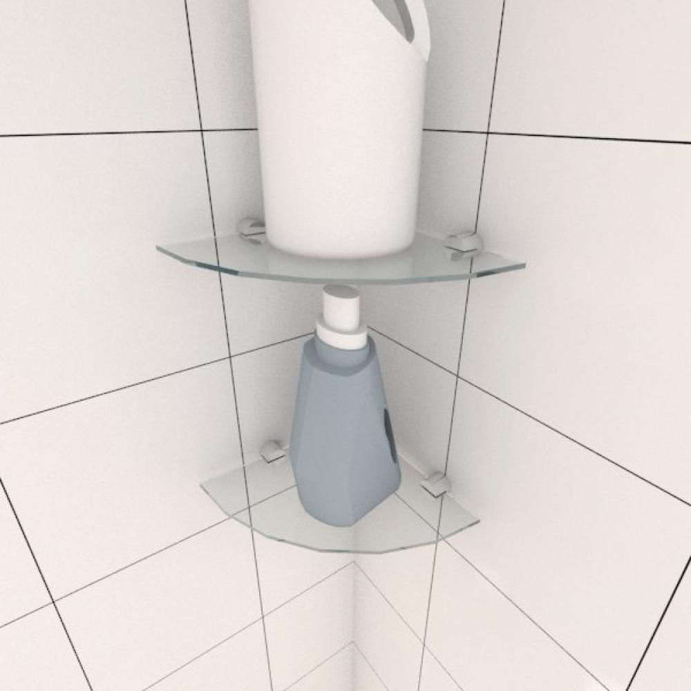 Kit com duas Prateleira para lavanderia de canto 20 cm vidro temperado
