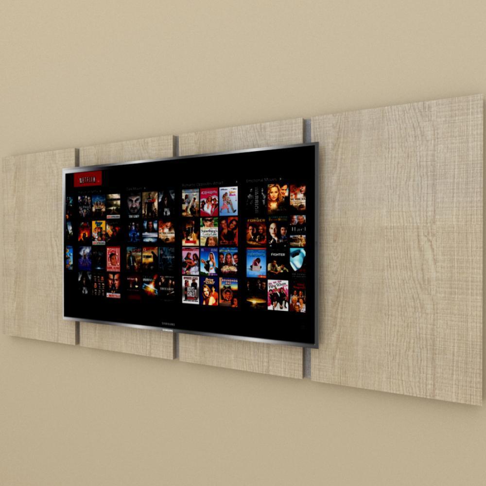 Painel Tv pequeno moderno amadeirado claro com rustico
