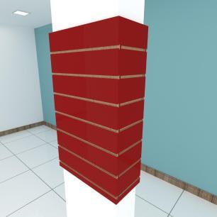 Kit 4 Painel canaletado para pilar vermelho escuro 2 peças 54(L)x90(A)cm + 2 peças 20(L)x90(A)cm