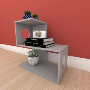 Estante para livros formato S slim em mdf Cinza