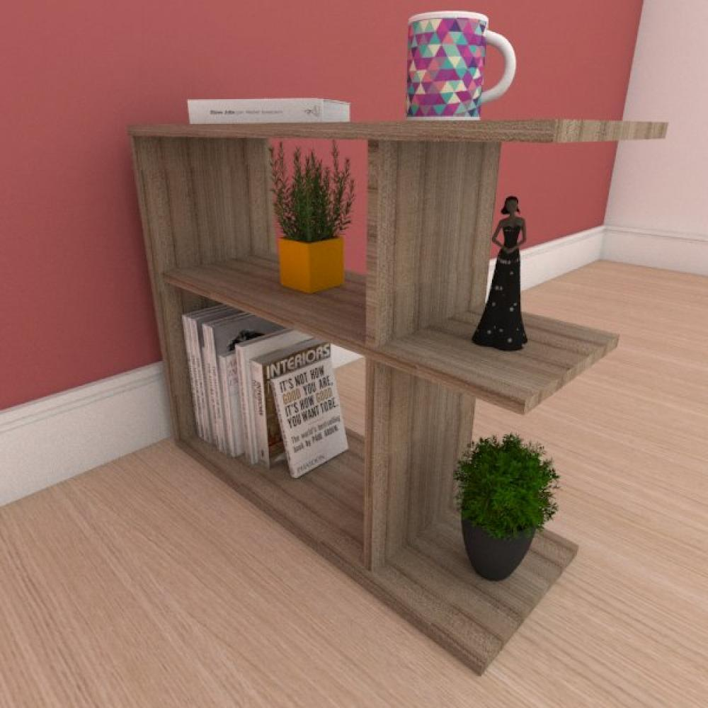 Mesa de cabeceira compacta com prateleira em mdf amadeirado