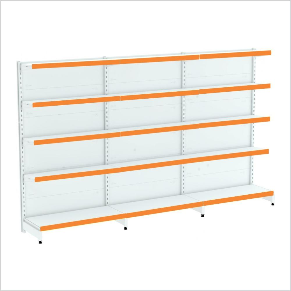 kit com 3 gondola de parede 1 inicial 2 cont 1,70x92 40/30 flex 40 amapa, porta etiquetas laranja