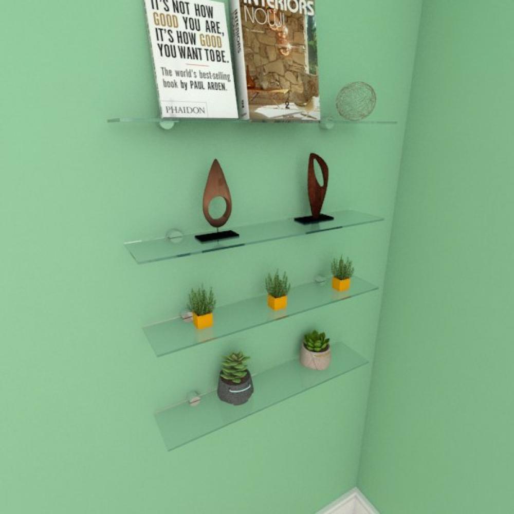 Kit com quatro Prateleira para escritório 50 cm vidro temperado