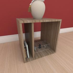 Mesa Lateral moderna com prateleiras em mdf amadeirado