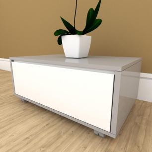 Mesa de cabeceira branco com cinza