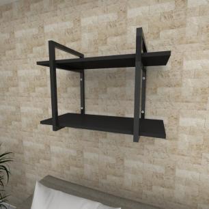 Prateleira industrial para Sala aço cor preto prateleiras 30 cm cor preto modelo ind02psl