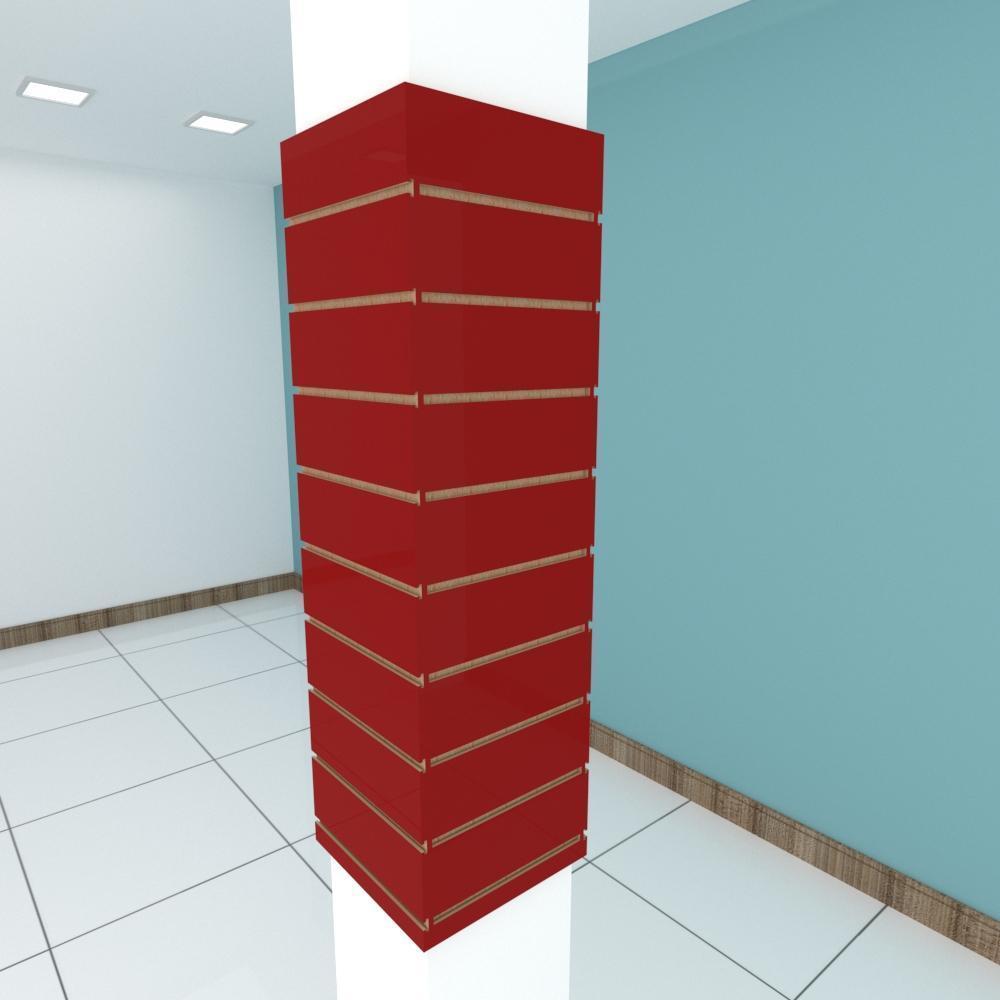 Kit 4 Painel canaletado para pilar vermelho escuro 2 peças 34(L)x120(A)cm + 2 peças 30(L)x120(A)cm