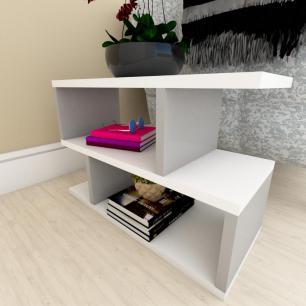 Mesa de cabeceira moderna Branco com cinza
