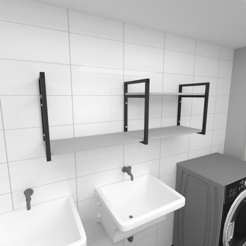 Prateleira industrial para lavanderia aço cor preto prateleiras 30cm cor cinza modelo ind07clav