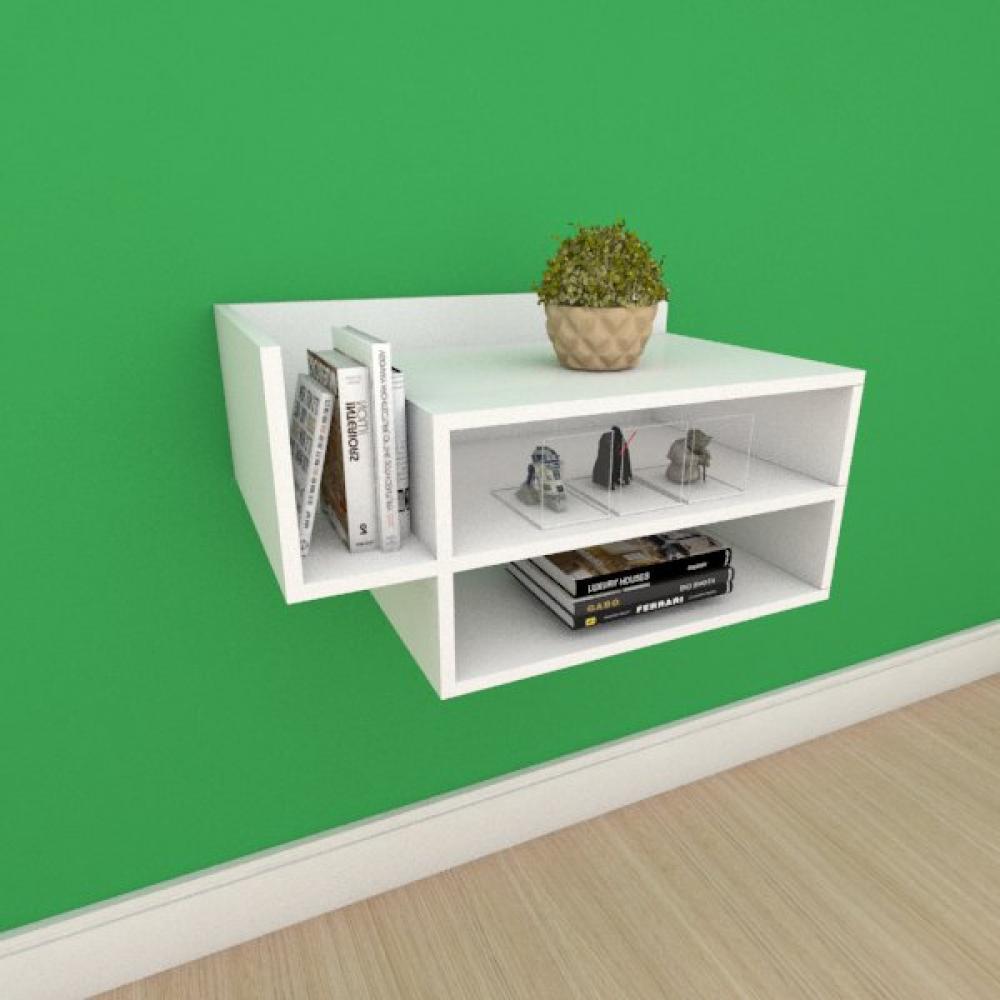 Mesa de cabeceira moderno simples duplo com nichos em mdf branco