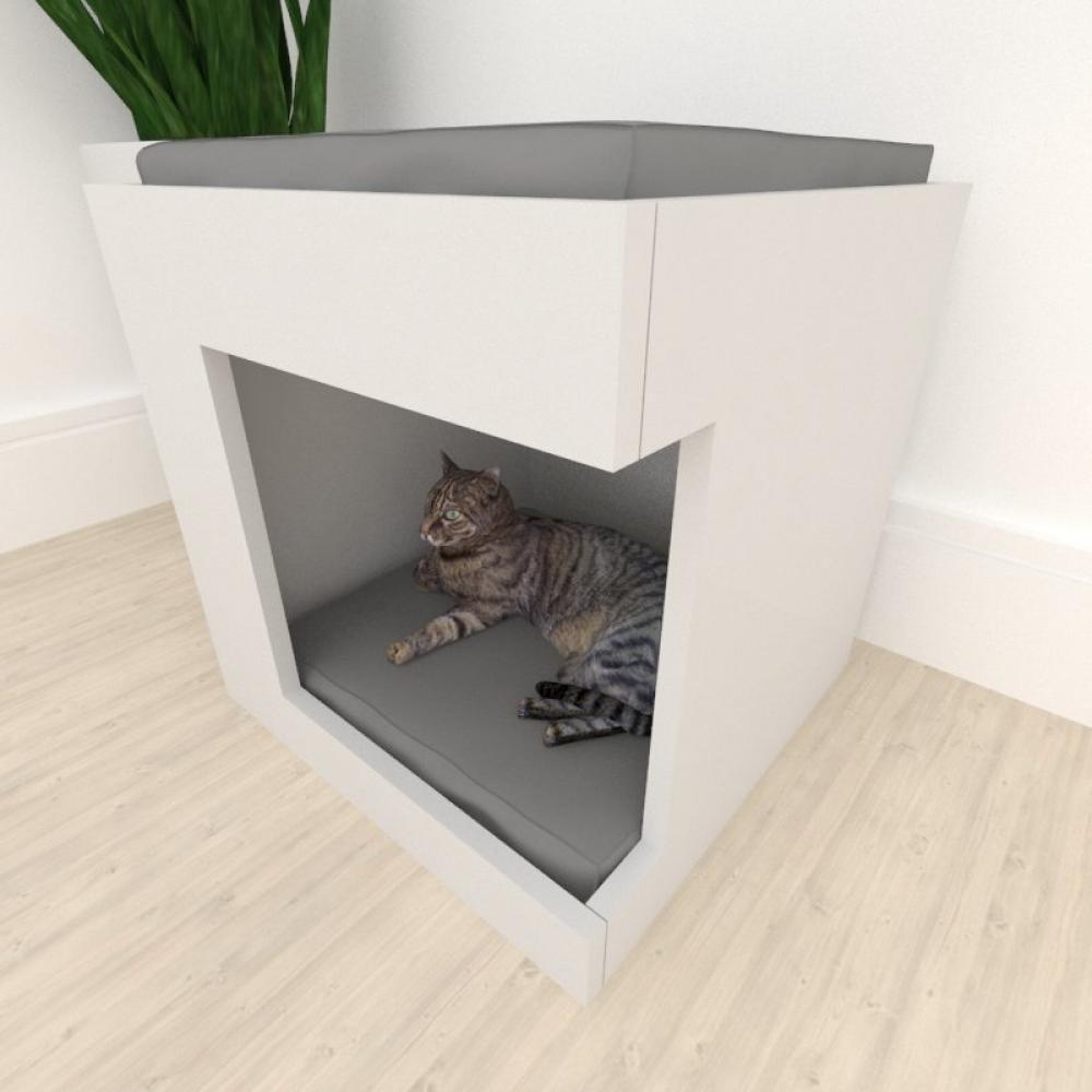 Casinha caminha para gato alto padrão mdf Cinza