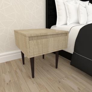 Mesa de Cabeceira com gaveta em mdf amadeirado claro com 4 pés retos em madeira maciça cor tabaco