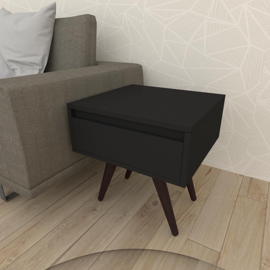 Mesa lateral com gaveta em mdf preto com 4 pés inclinados em madeira maciça cor tabaco
