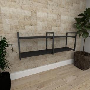 Mini estante industrial para escritório aço cor preto prateleiras 30 cm cor preto modelo ind04pep
