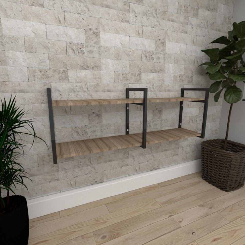 Mini estante industrial para sala aço cor preto mdf 30cm cor amadeirado escuro modelo ind04aeeps