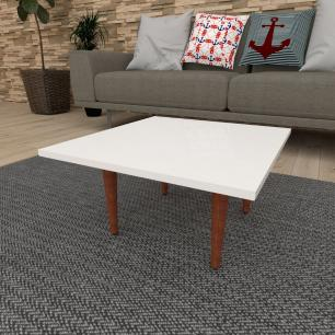 Mesa de Centro quadrada em mdf branco com 4 pés retos em madeira maciça cor mogno