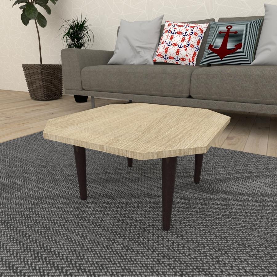 Mesa de Centro octagonal em mdf amadeirado claro com 4 pés retos em madeira maciça cor tabaco