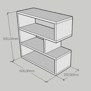 Estante de Livros compacta tripla em mdf branco