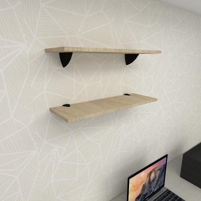 Kit 2 prateleiras para escritório em MDF suporte tucano amadeirado claro 60x20cm modelo pratesamc11