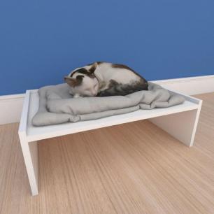 Mesa de cabeceira caminha bercinho pequeno gato em mdf branco