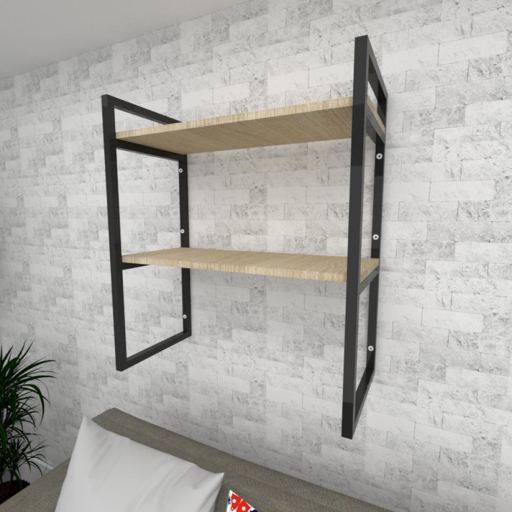 Prateleira industrial para Sala aço preto prateleiras 30 cm cor amadeirado claro modelo ind08acsl