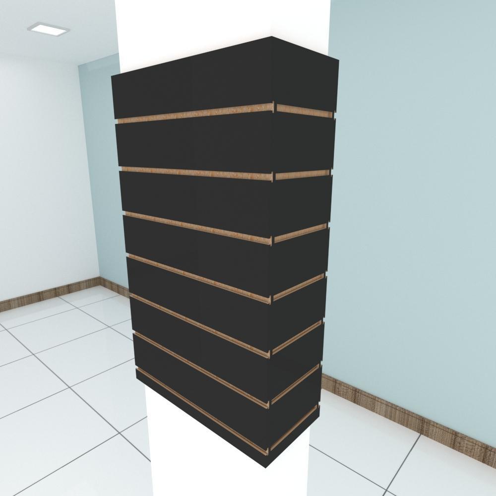 Kit 4 Painel canaletado para pilar preto 2 peças 54(L)x90(A)cm + 2 peças 20(L)x90(A)cm
