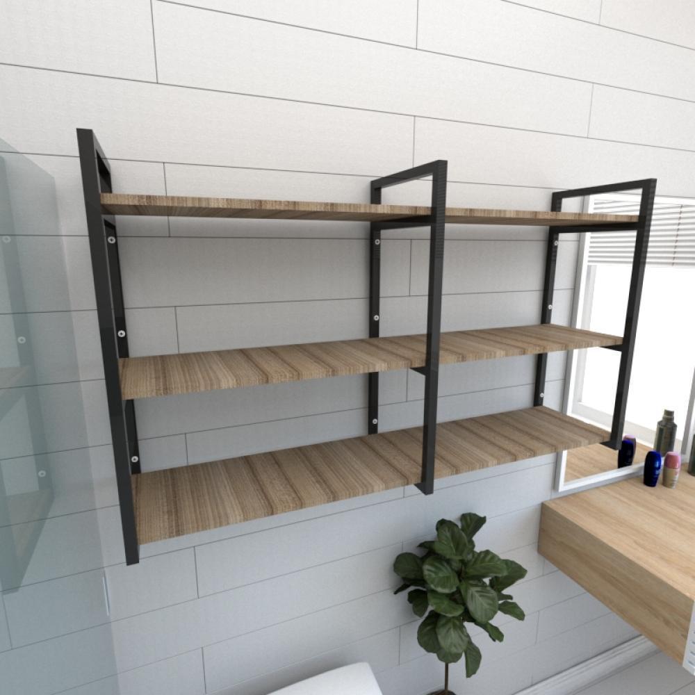 Prateleira industrial banheiro aço cor preto prateleiras 30cm cor amadeirado escuro mod ind11aeb