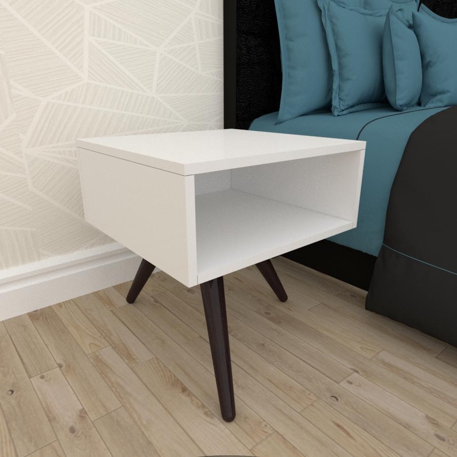 Mesa de Cabeceira em mdf branco com 3 pés inclinados em madeira maciça cor tabaco
