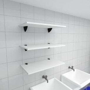 Kit 3 prateleiras para lavanderia em MDF suporte tucano branco 60x30cm modelo pratlvb06