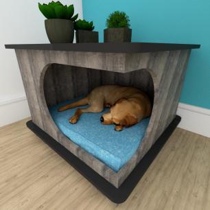 Mesa de cabeceira caminha cão gaveta mdf Rustico preto