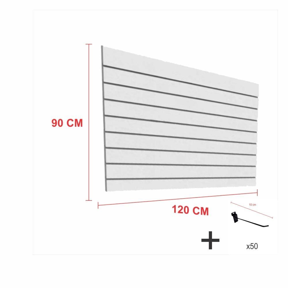 Kit Painel canaletado cinza alt 90 cm comp 120 cm mais 50 ganchos 10 cm