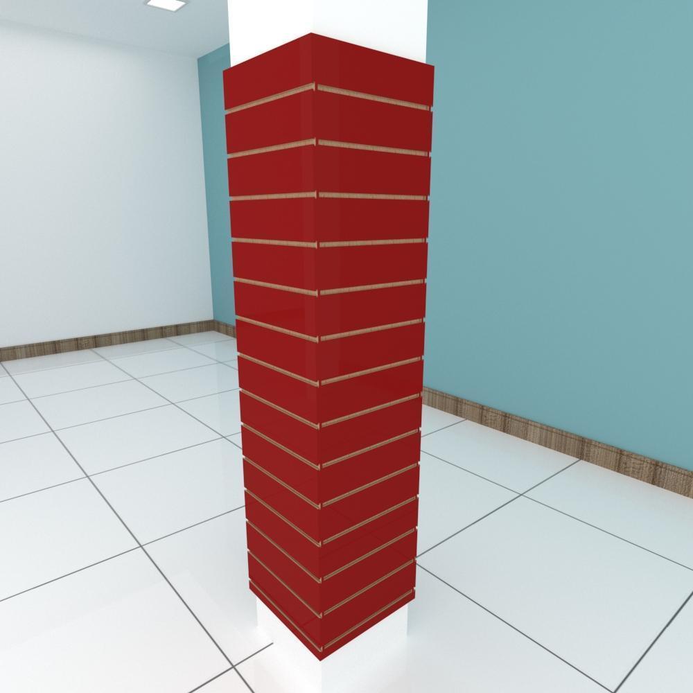 Kit 4 Painel canaletado para pilar vermelho escuro 2 peças 44(L)x180(A)cm + 2 peças 40(L)x180(A)cm