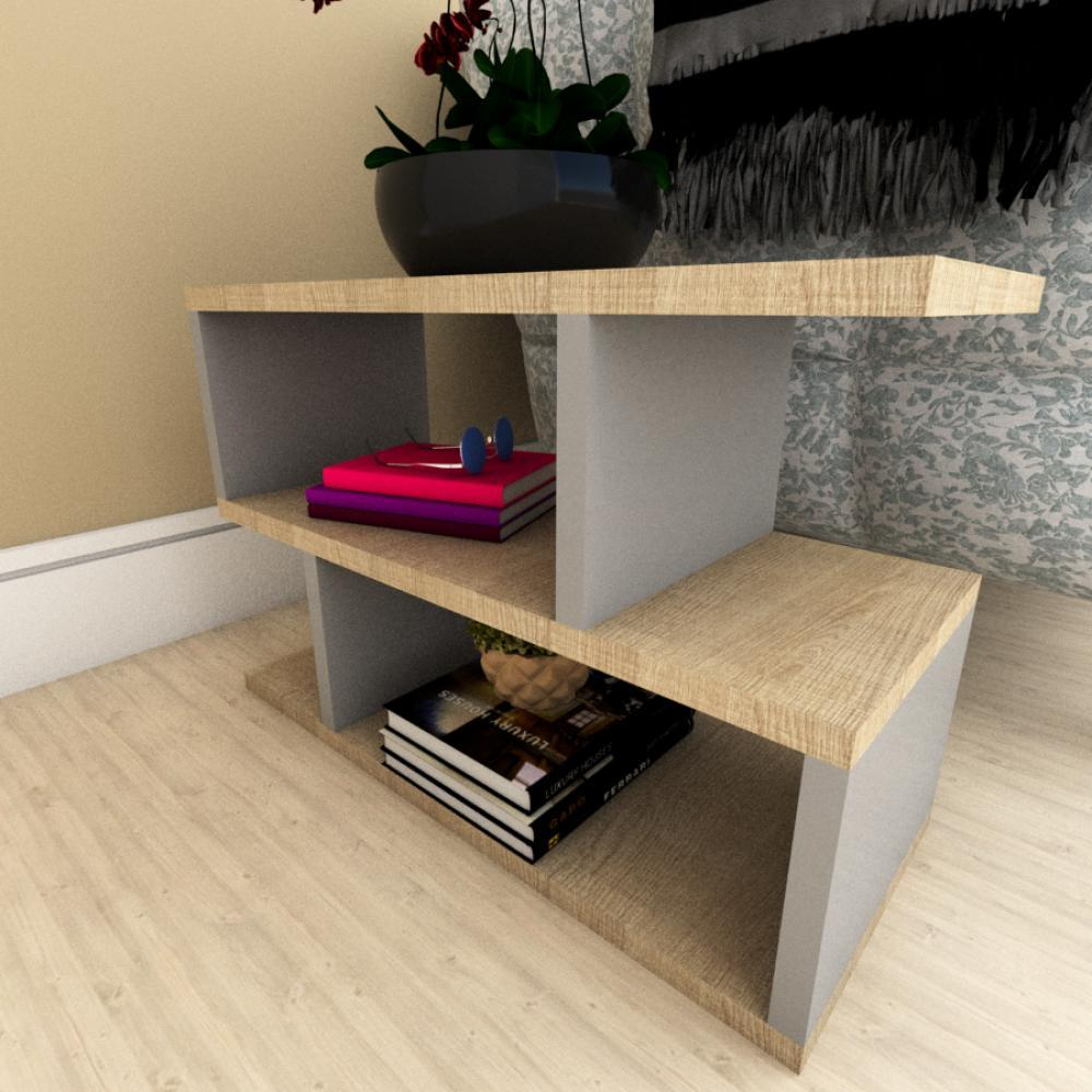 Kit com 2 Mesa de cabeceira amadeirado claro e cinza