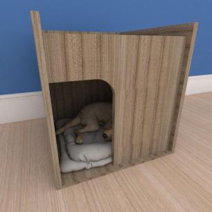 Mesa de cabeceira caminha compacta pequeno cachorro em mdf amadeirado