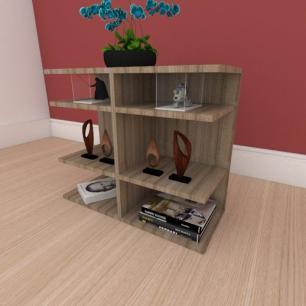 Kit com 2 Mesa de cabeceira minimalista com divisor em mdf amadeirado
