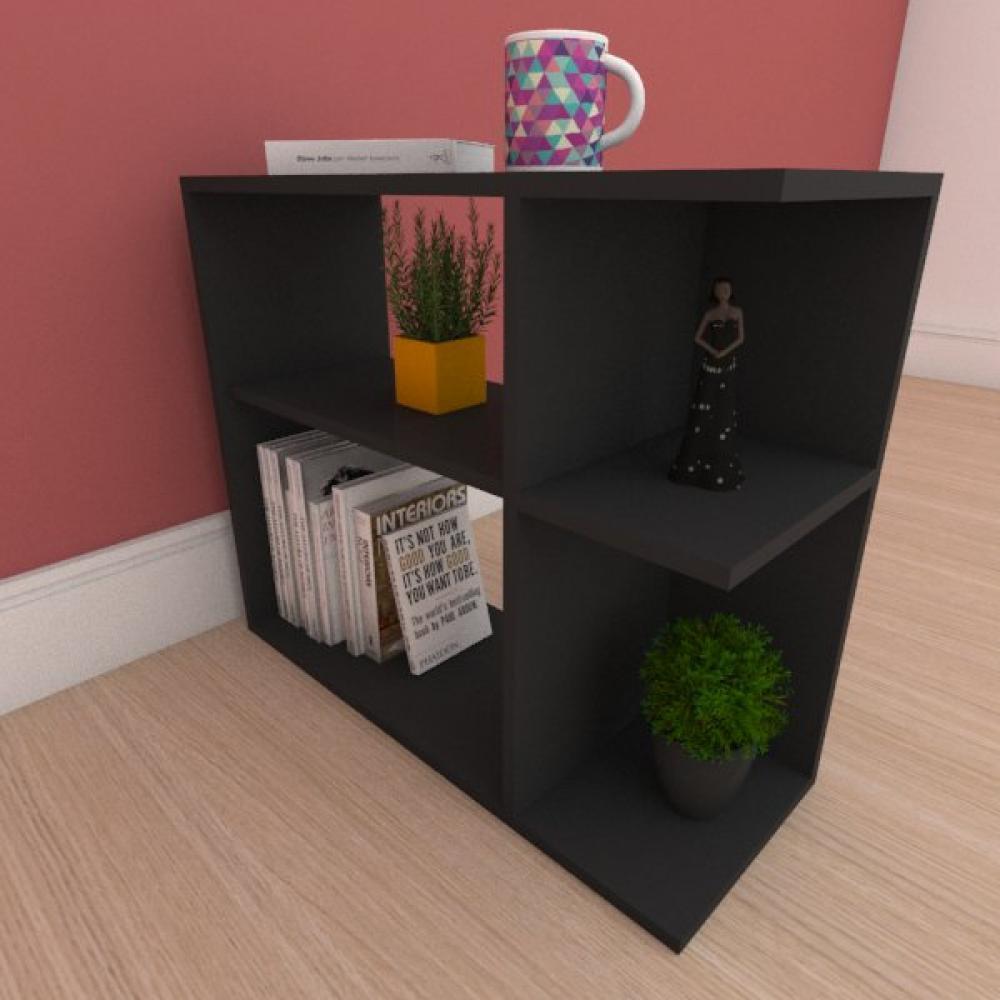 Kit com 2 Mesa de cabeceira simples com prateleira em mdf preto