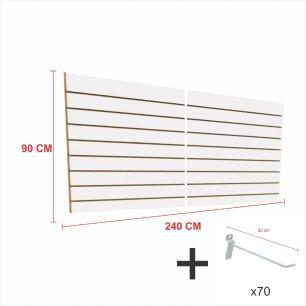 Kit Painel canaletado branco alt 90 cm comp 240 cm mais 70 ganchos 20 cm