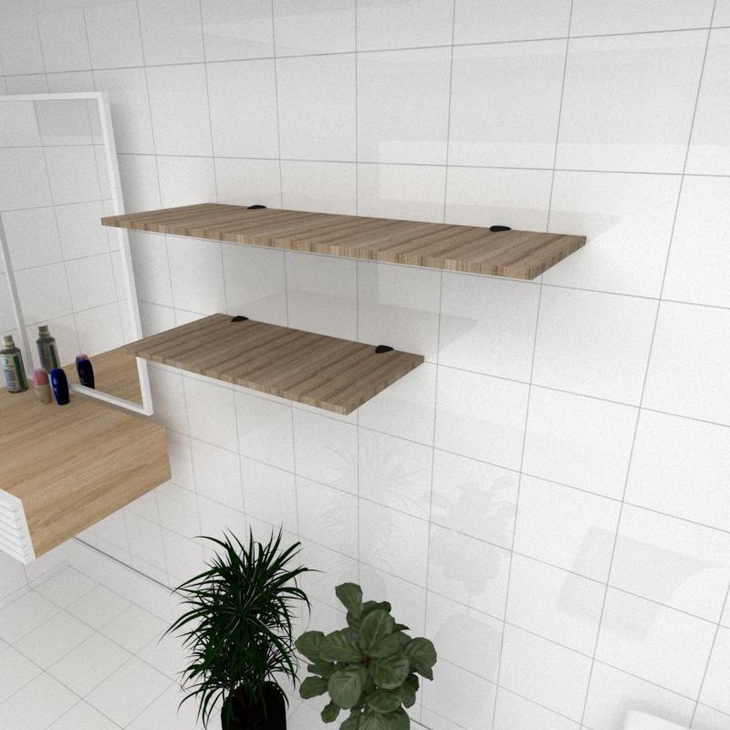 Kit 2 prateleiras banheiro MDF suporte tucano amadeirado escuro 1 60x30cm 1 90x30cm mod pratbname14