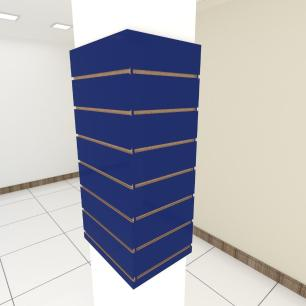 Kit 4 Painel canaletado para pilar azul escuro 2 peças 44(L)x90(A) cm + 2 peças 30(L)x90(A) cm