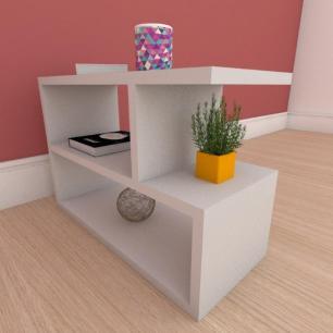 Mesa de cabeceira slim em mdf cinza