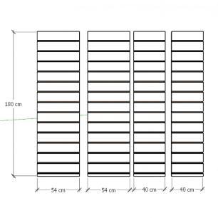 Kit 4 Painel canaletado para pilar preto 2 peças 54(L)x180(A) cm + 2 peças 40(L)x180(A) cm