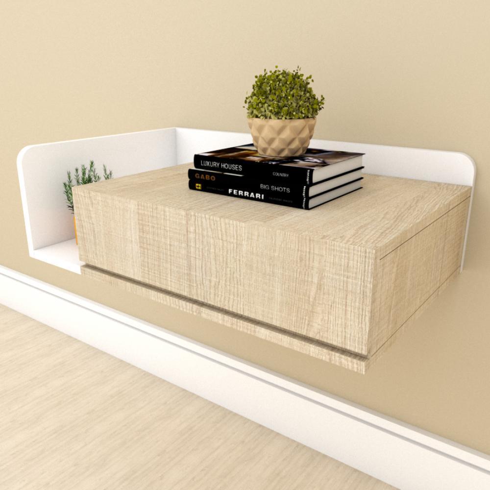 Mesa de cabeceira moderna amadeirado claro com branco