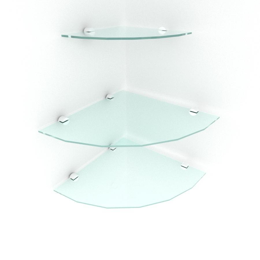 kit com 3 Prateleira para canto de vidro temperado para escritorio 2 de 30 cm e 1 de 20 cm