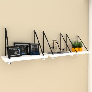 Kit com 3 Prateleiras moderna com cordas, mdf Branco